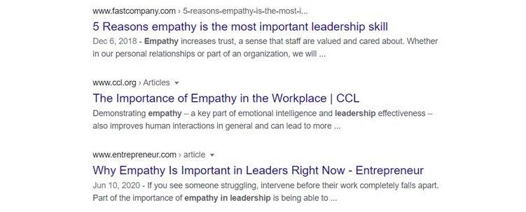 Empathy in leadership