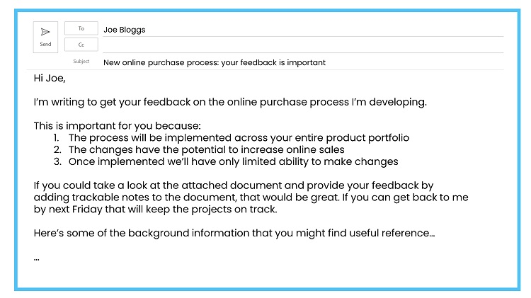 Requesting feedback by email example 1