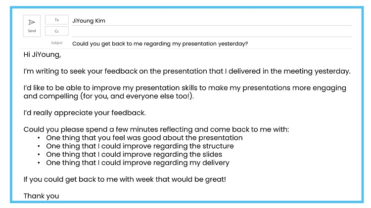 Requesting feedback by email example 3
