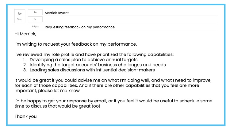 Requesting feedback by email example 4