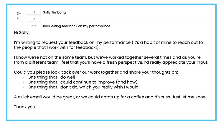 Requesting feedback by email example 5
